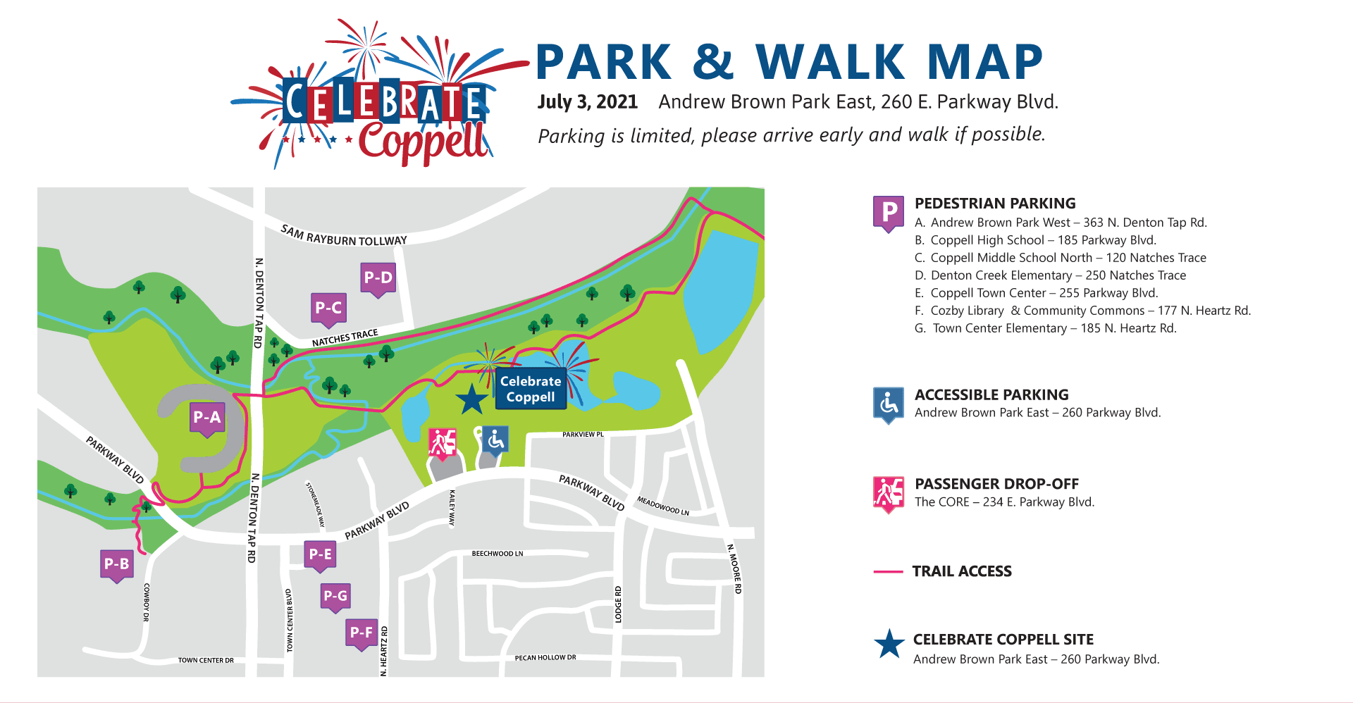 Map with labels for parking around Andrew Brown Park East